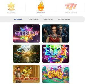 Pelaa Casino games lobby
