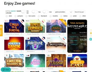 Playzee Casino game lobby
