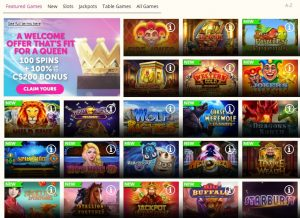 Queen Play Casino game lobby