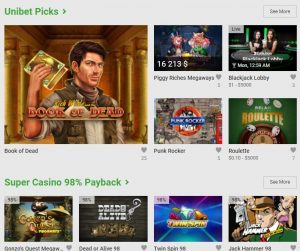 Unibet Casino game lobby