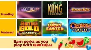 Chilli Casino game lobby