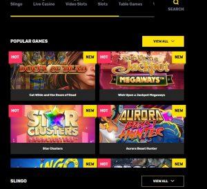 Hyper Casino game lobby