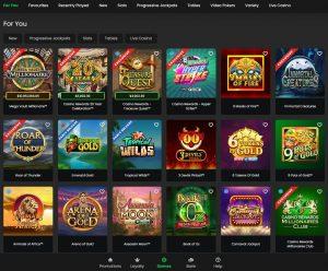 Yukon Gold Casino game lobby